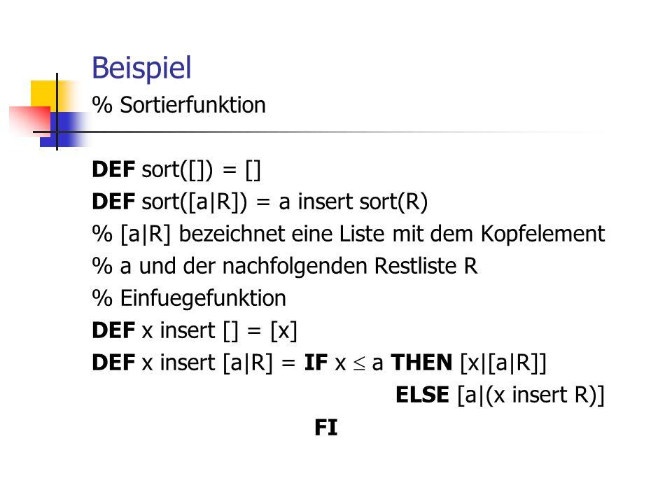 Beispiel % Sortierfunktion DEF sort([]) = []